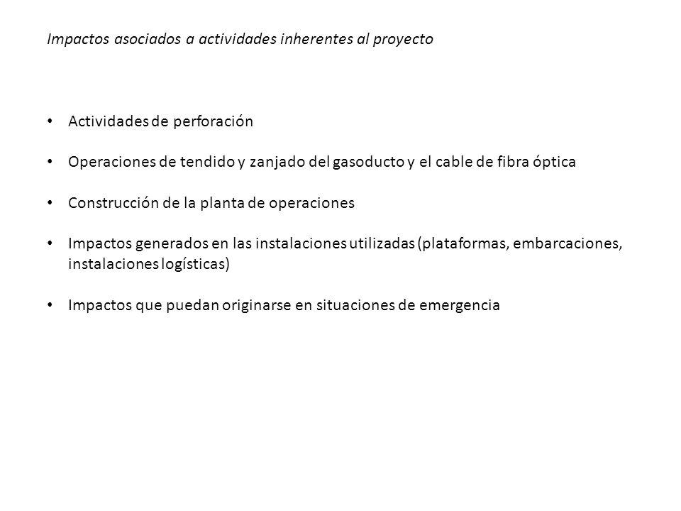 Impactos asociados a actividades inherentes al proyecto