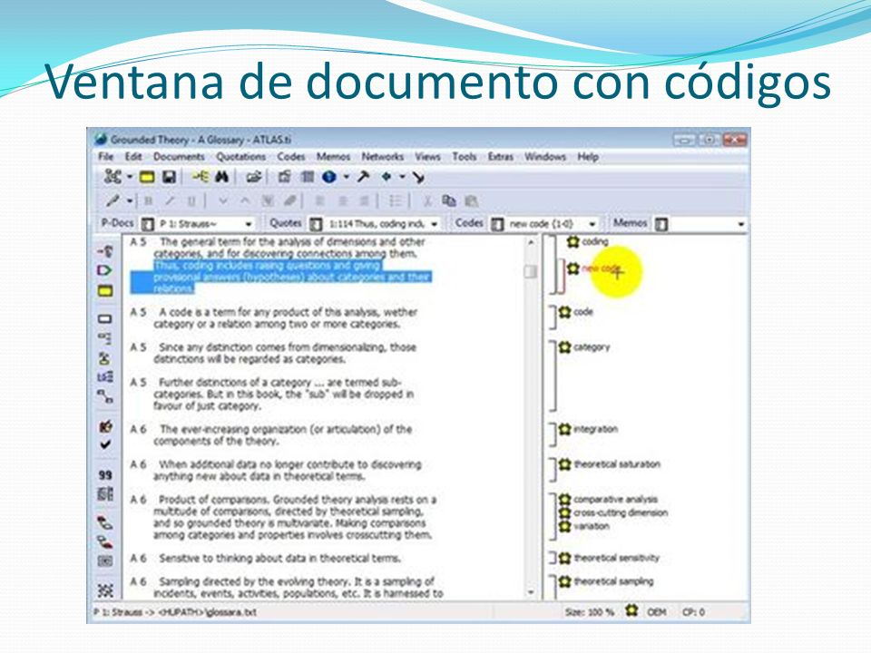 Ventana de documento con códigos