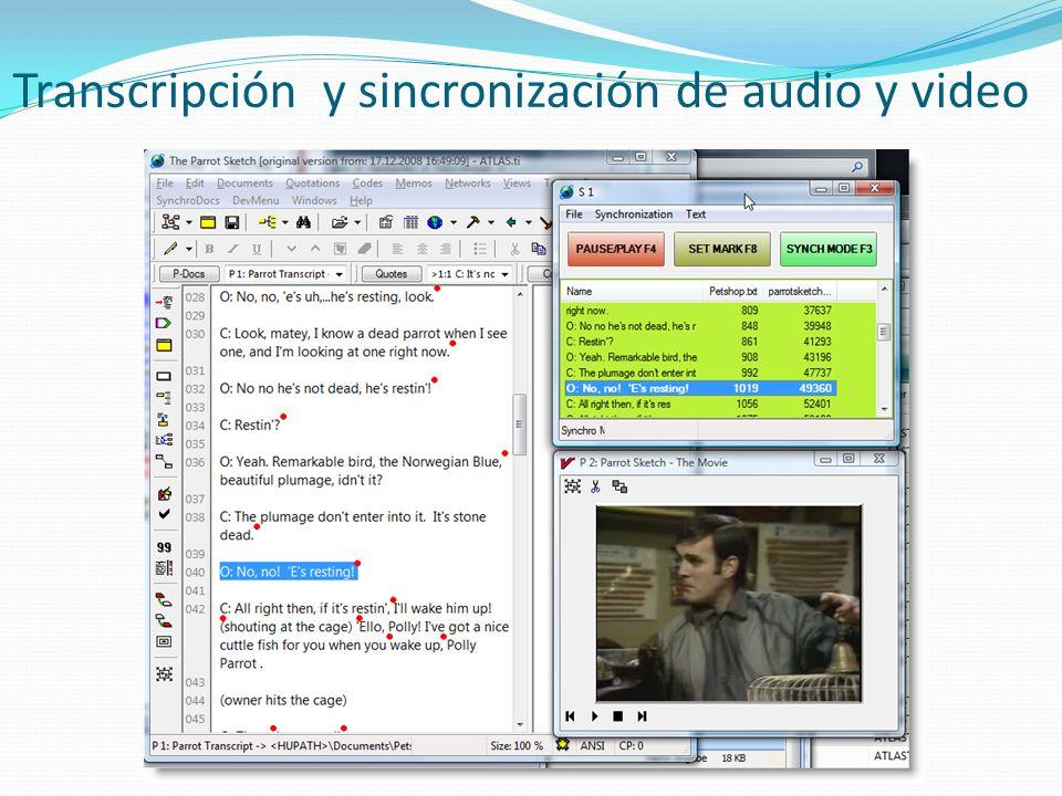 Transcripción y sincronización de audio y video