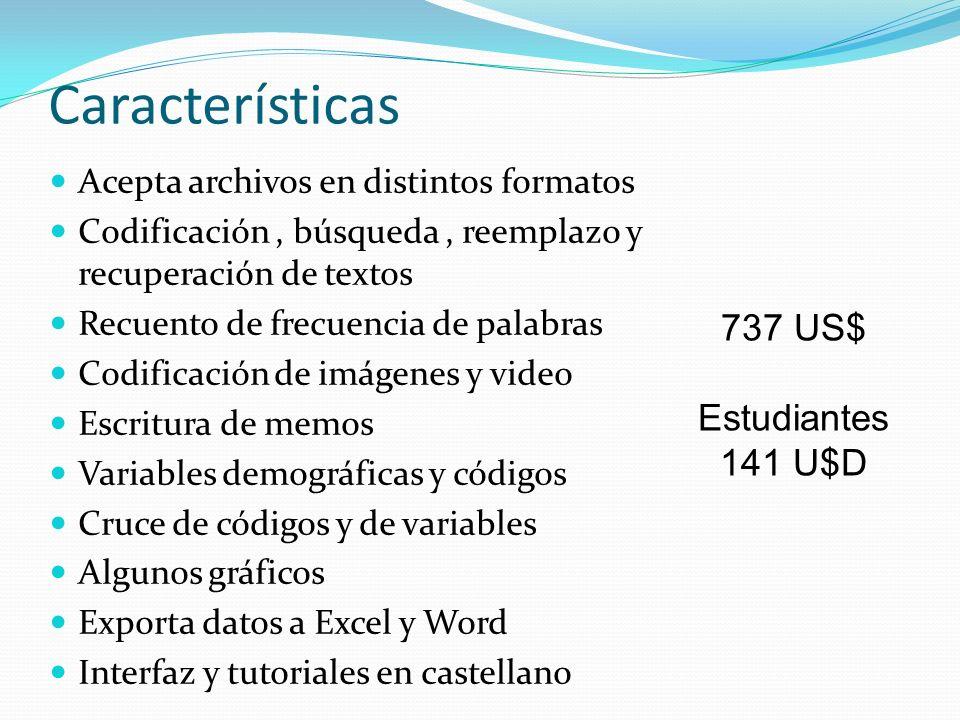 Características 737 US$ Estudiantes 141 U$D