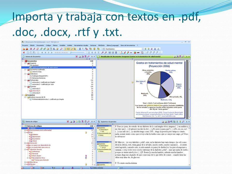 Importa y trabaja con textos en .pdf, .doc, .docx, .rtf y .txt.