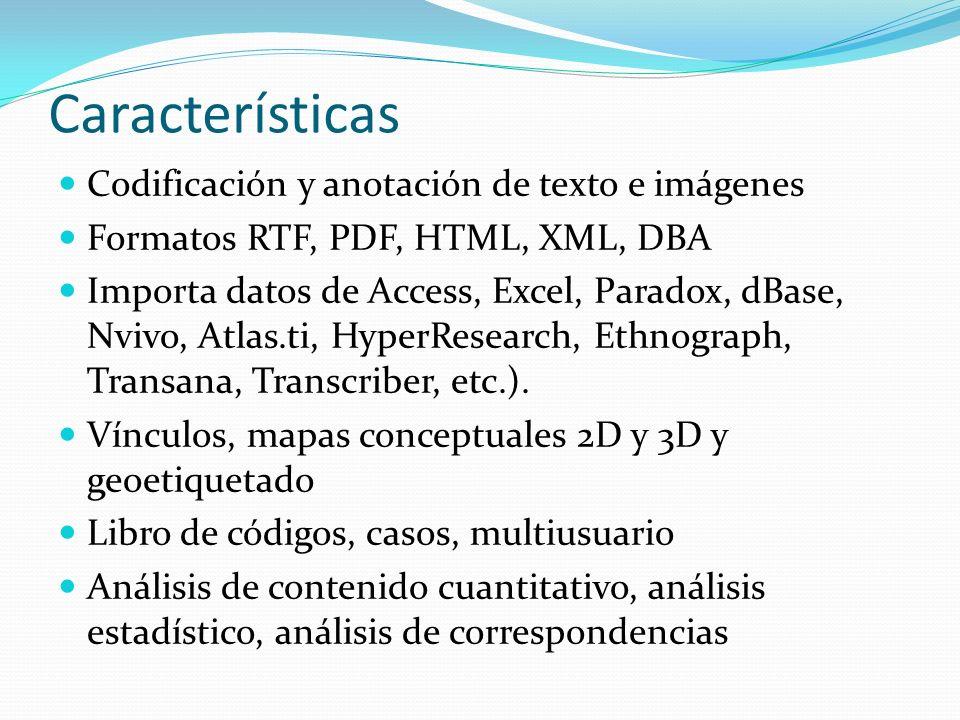 Características Codificación y anotación de texto e imágenes
