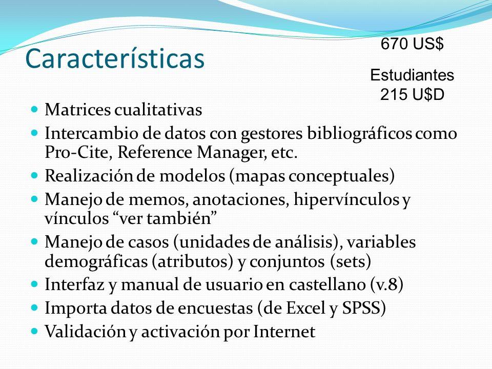 Características Matrices cualitativas