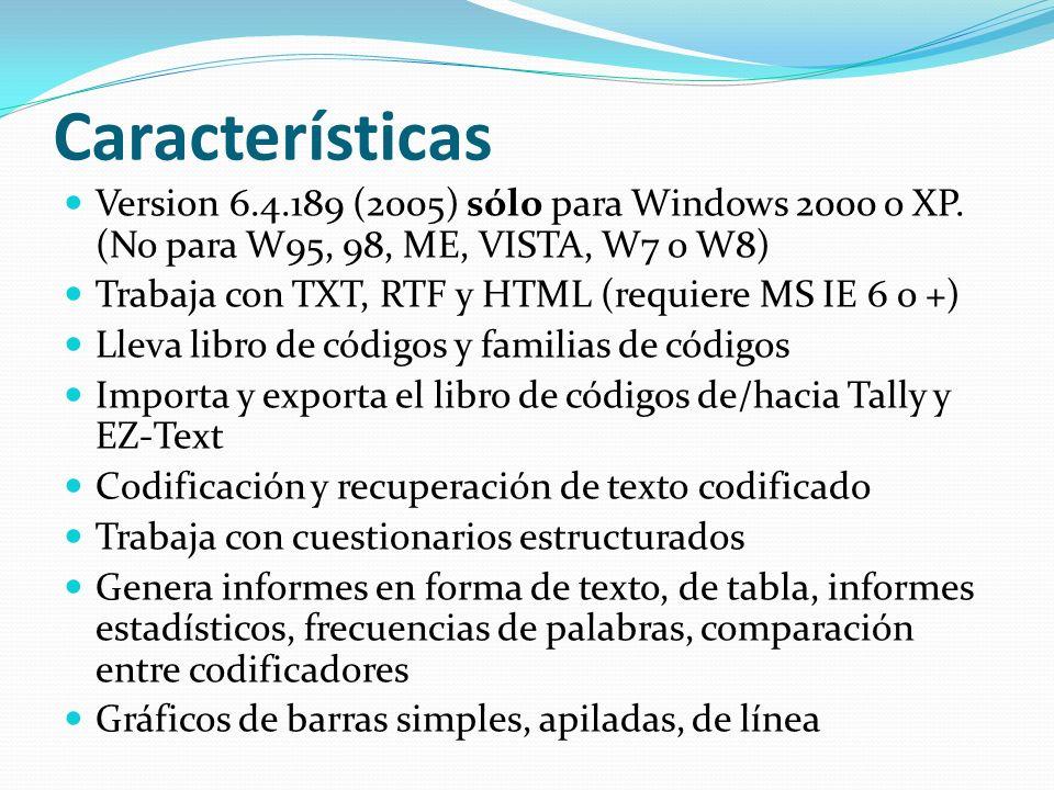 Características Version 6.4.189 (2005) sólo para Windows 2000 o XP. (No para W95, 98, ME, VISTA, W7 o W8)