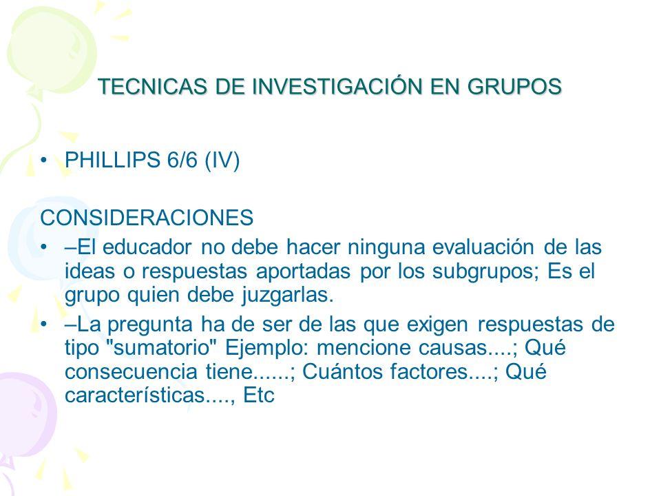 TECNICAS DE INVESTIGACIÓN EN GRUPOS