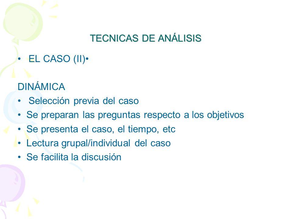 TECNICAS DE ANÁLISIS EL CASO (II)• DINÁMICA. Selección previa del caso. • Se preparan las preguntas respecto a los objetivos.