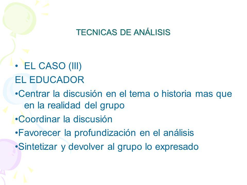 •Coordinar la discusión •Favorecer la profundización en el análisis