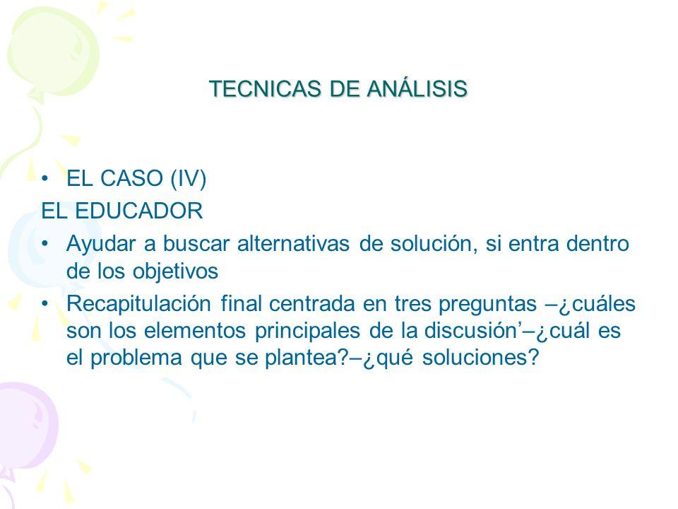 TECNICAS DE ANÁLISIS EL CASO (IV) EL EDUCADOR. Ayudar a buscar alternativas de solución, si entra dentro de los objetivos.