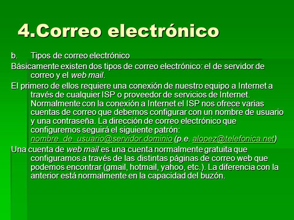4.Correo electrónico Tipos de correo electrónico