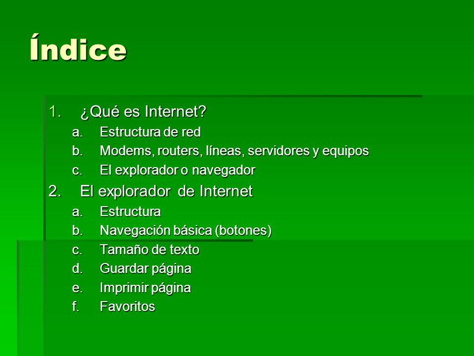 Índice ¿Qué es Internet El explorador de Internet Estructura de red