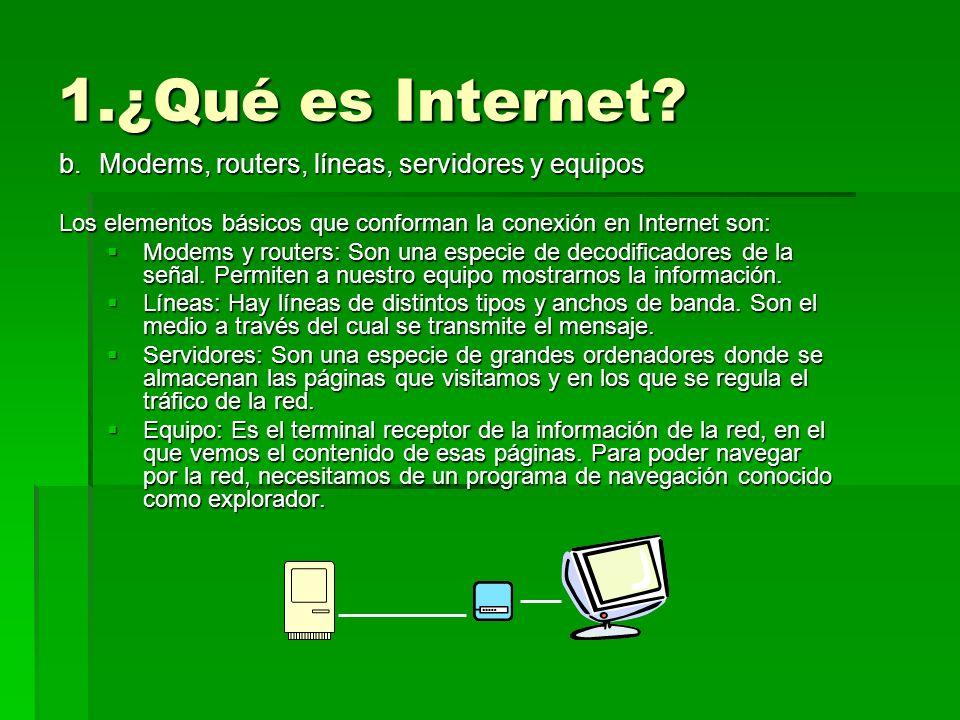 1.¿Qué es Internet Modems, routers, líneas, servidores y equipos
