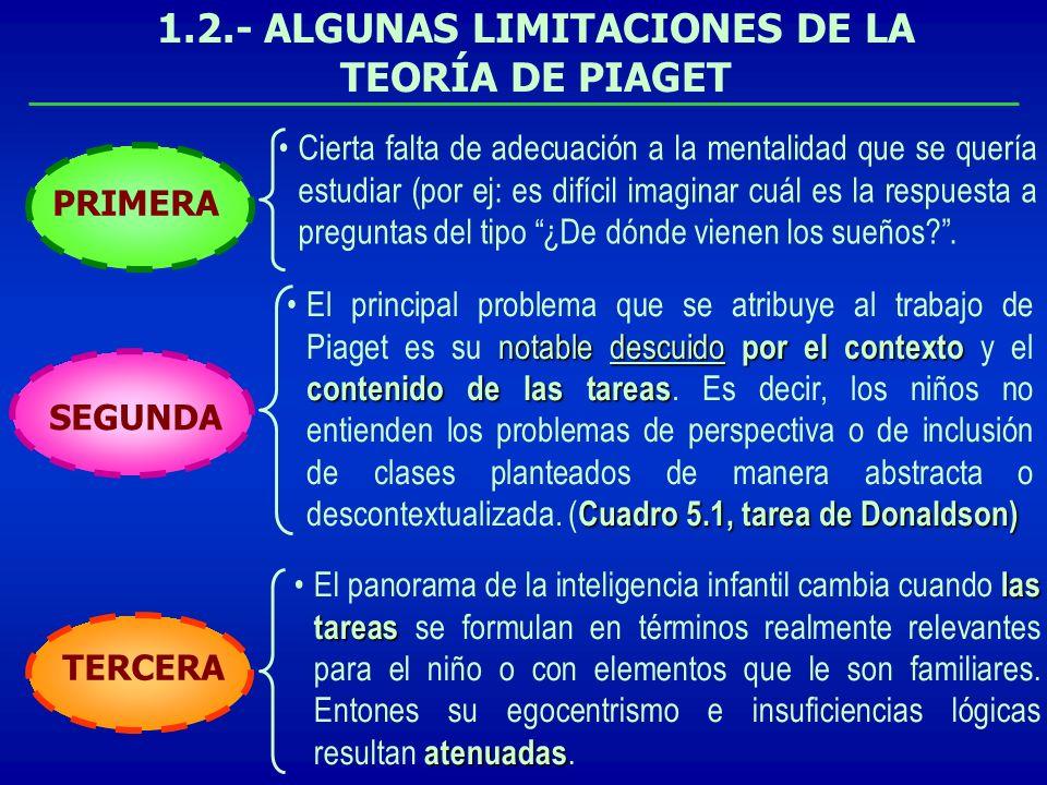 1.2.- ALGUNAS LIMITACIONES DE LA TEORÍA DE PIAGET