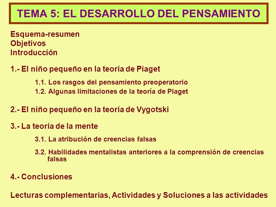 TEMA 5: EL DESARROLLO DEL PENSAMIENTO
