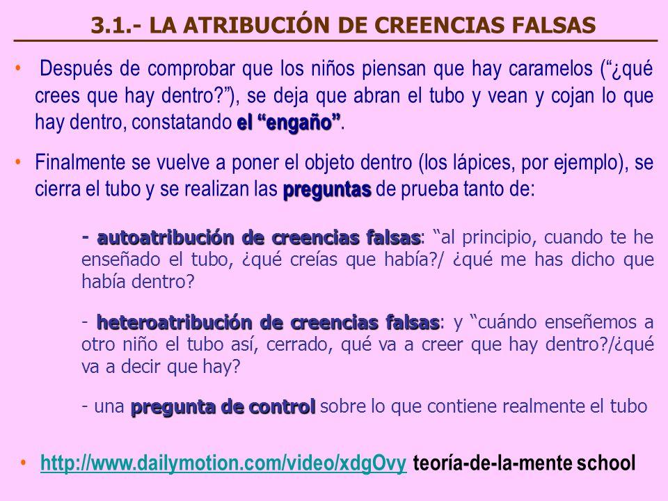 3.1.- LA ATRIBUCIÓN DE CREENCIAS FALSAS
