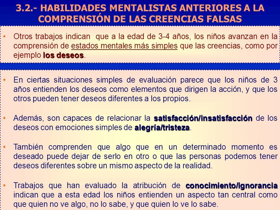 3.2.- HABILIDADES MENTALISTAS ANTERIORES A LA COMPRENSIÓN DE LAS CREENCIAS FALSAS