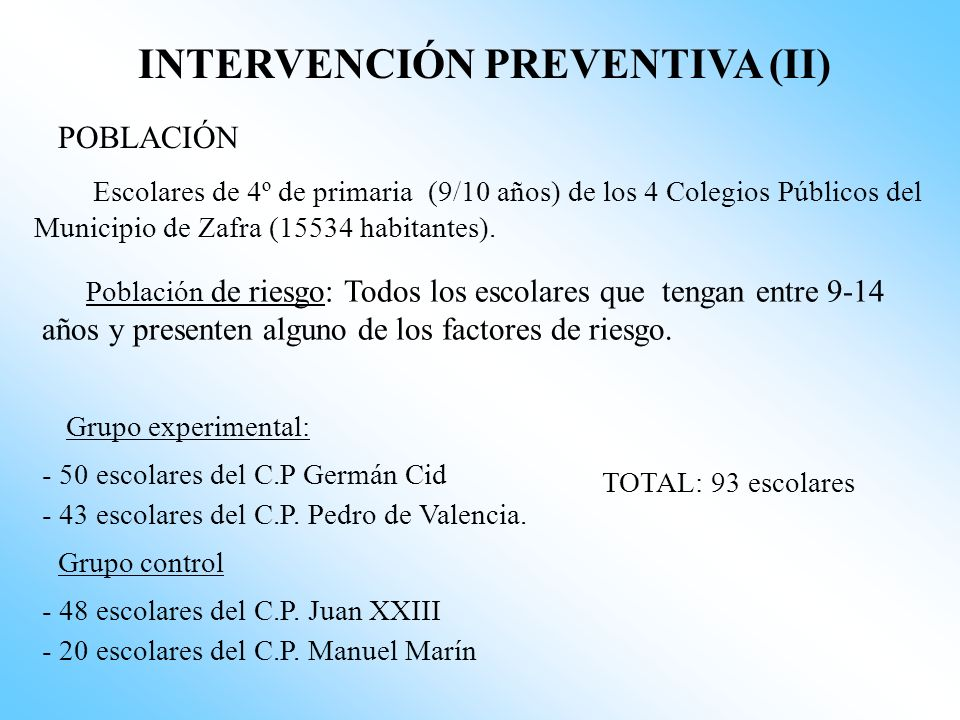 INTERVENCIÓN PREVENTIVA (II)