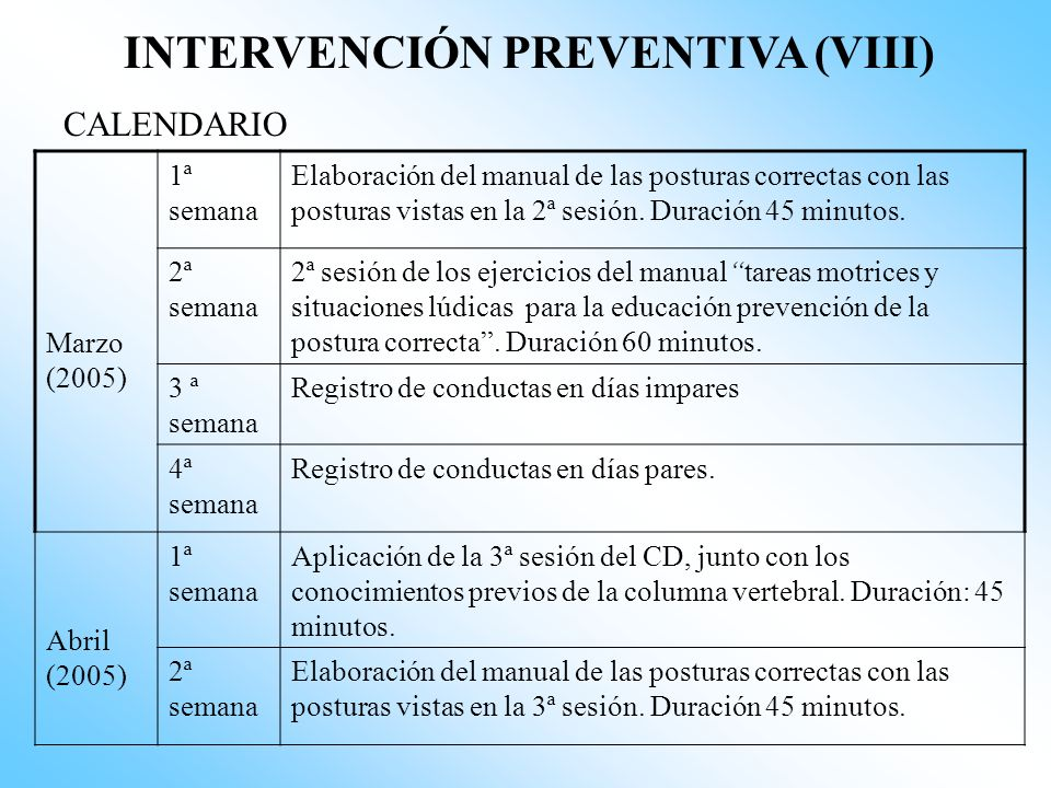 INTERVENCIÓN PREVENTIVA (VIII)