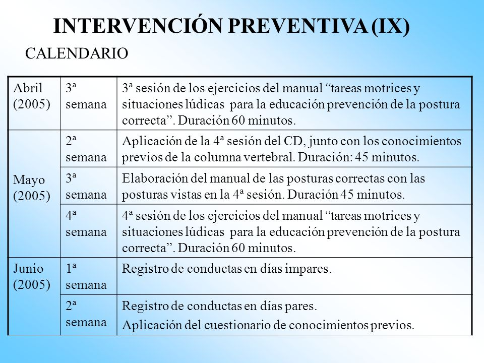 INTERVENCIÓN PREVENTIVA (IX)