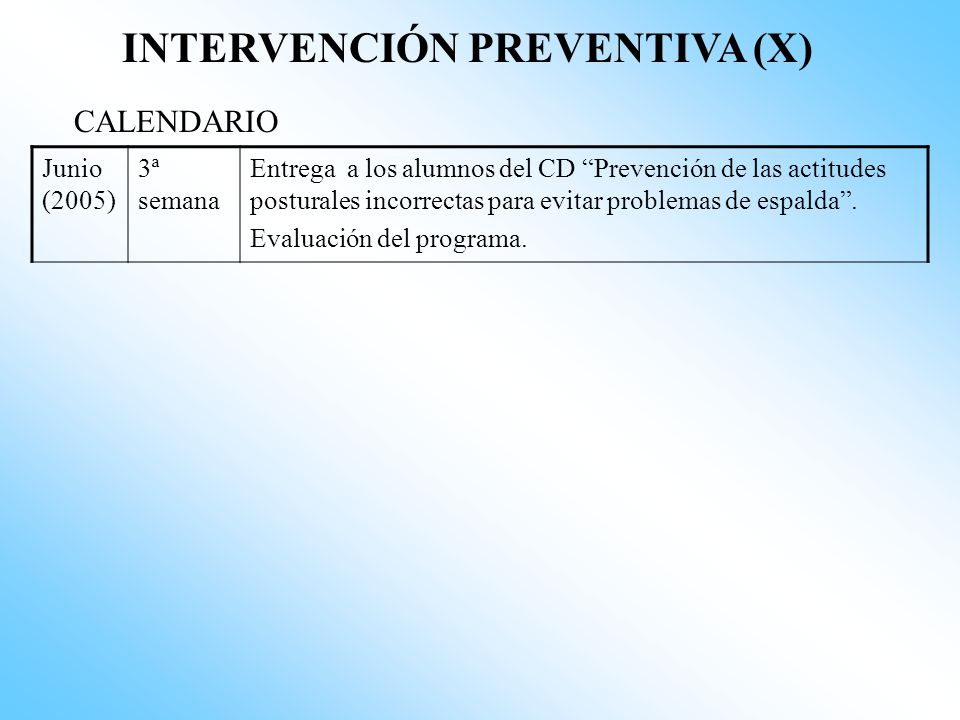 INTERVENCIÓN PREVENTIVA (X)