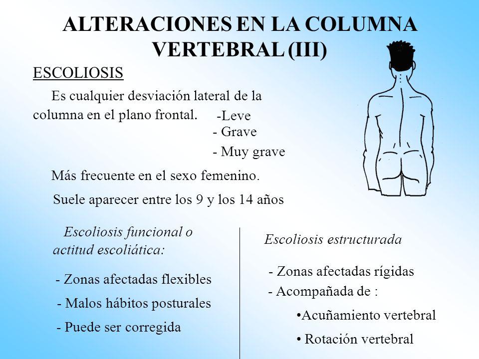 ALTERACIONES EN LA COLUMNA VERTEBRAL (III)