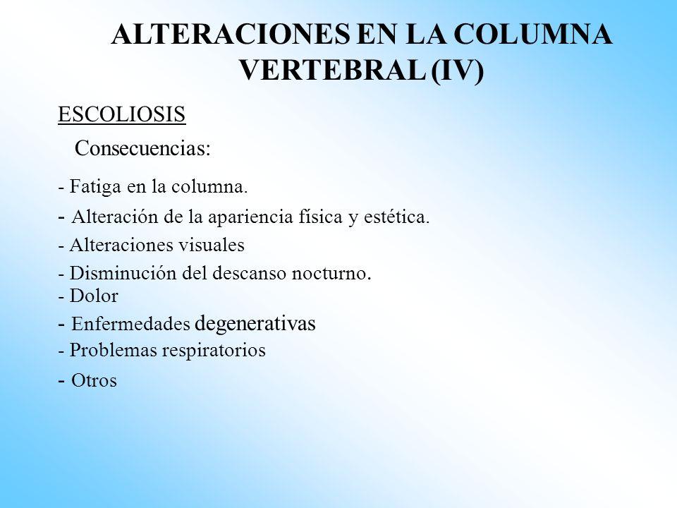 ALTERACIONES EN LA COLUMNA VERTEBRAL (IV)