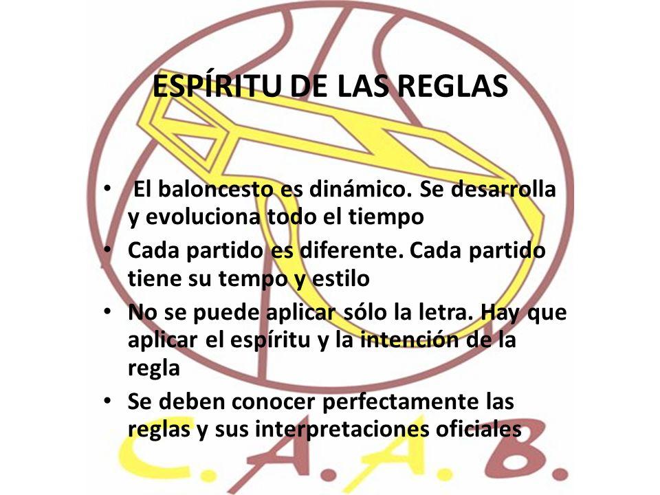 ESPÍRITU DE LAS REGLAS El baloncesto es dinámico. Se desarrolla y evoluciona todo el tiempo.