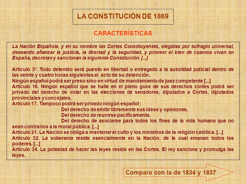 LA CONSTITUCIÓN DE 1869 CARACTERÍSTICAS Compara con la de 1834 y 1837