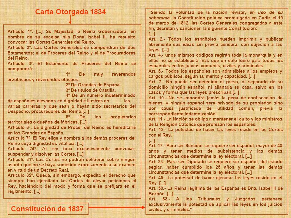 Carta Otorgada 1834 Constitución de 1837