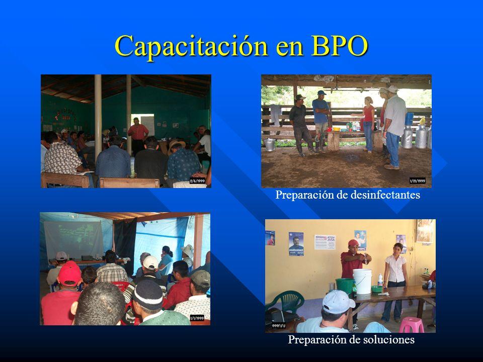 Capacitación en BPO Preparación de desinfectantes