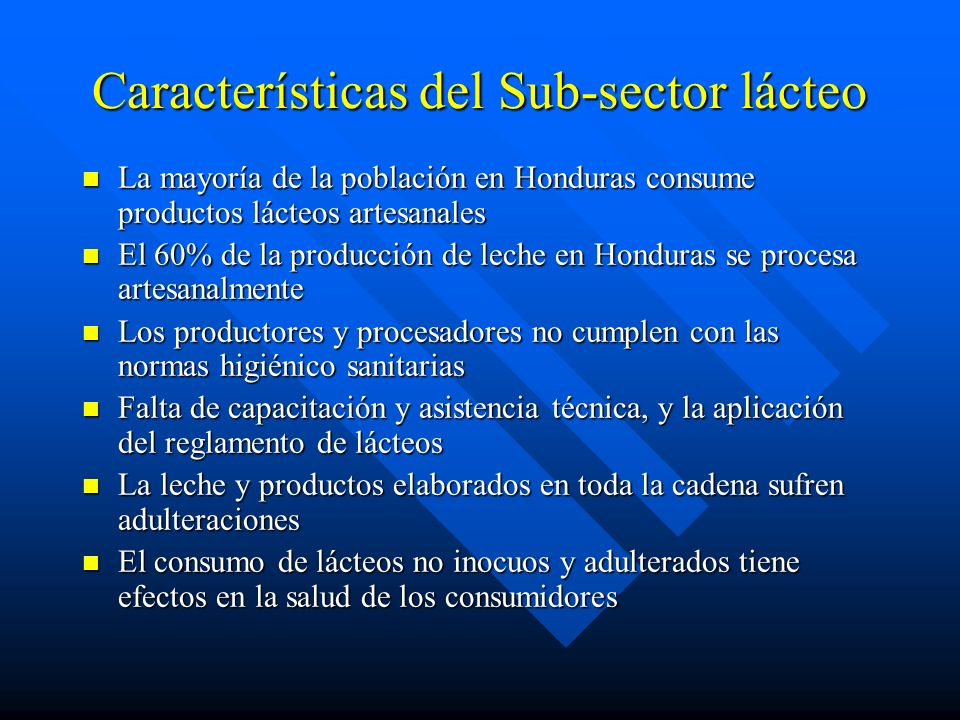 Características del Sub-sector lácteo