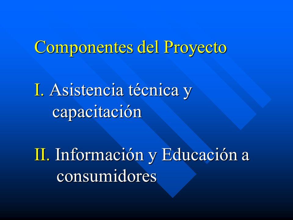 Componentes del Proyecto I. Asistencia técnica y capacitación II
