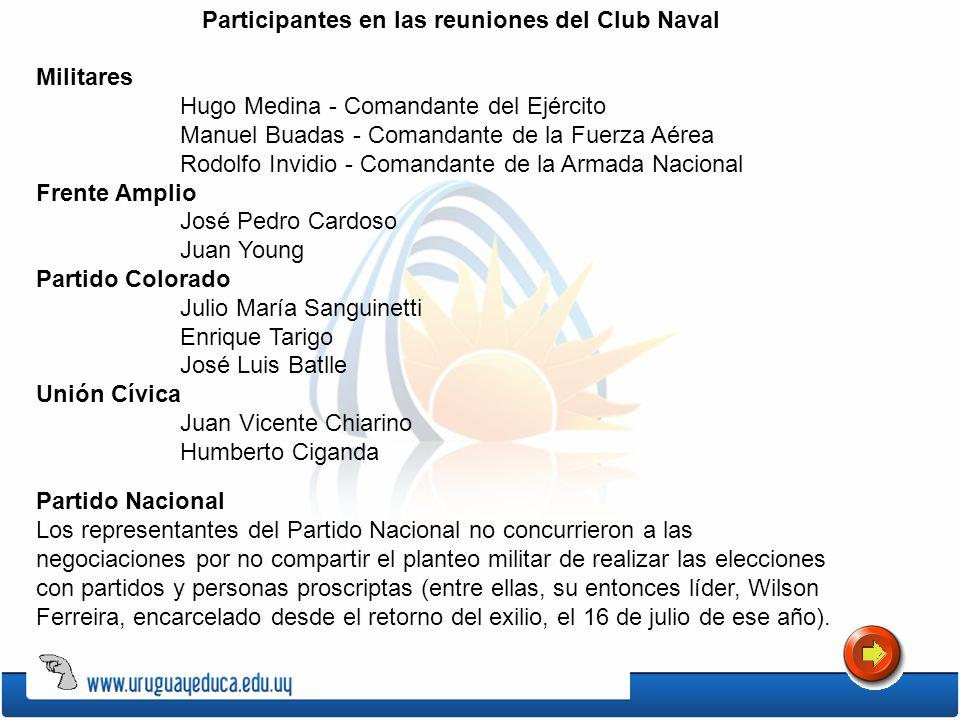 Participantes en las reuniones del Club Naval