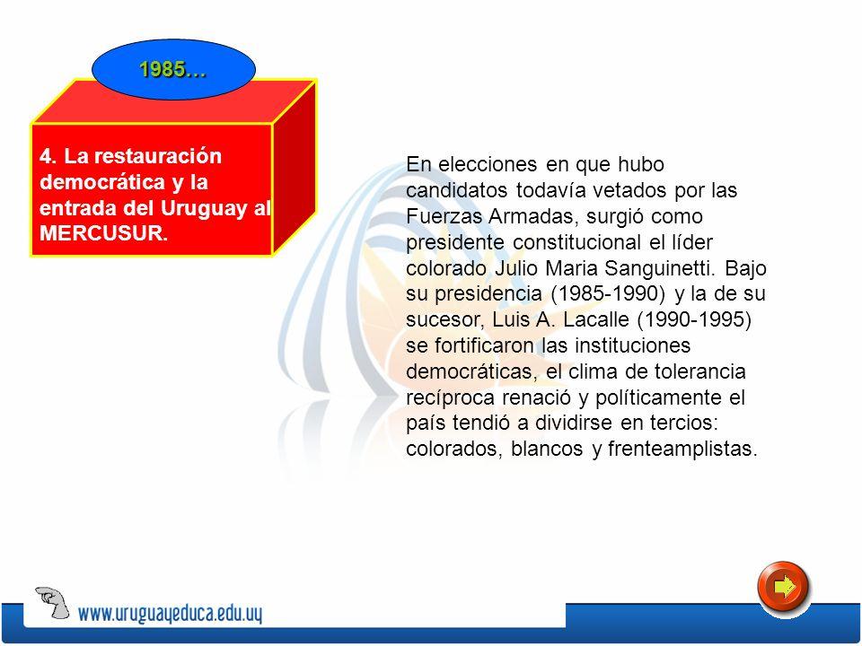 1985…4. La restauración democrática y la entrada del Uruguay al MERCUSUR.