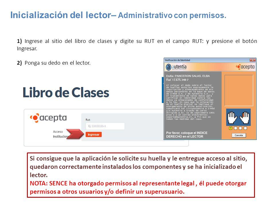 Inicialización del lector– Administrativo con permisos.