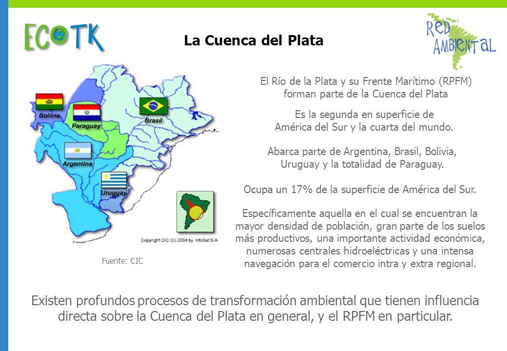 La Cuenca del Plata Fuente: CIC. El Río de la Plata y su Frente Marítimo (RPFM) forman parte de la Cuenca del Plata.
