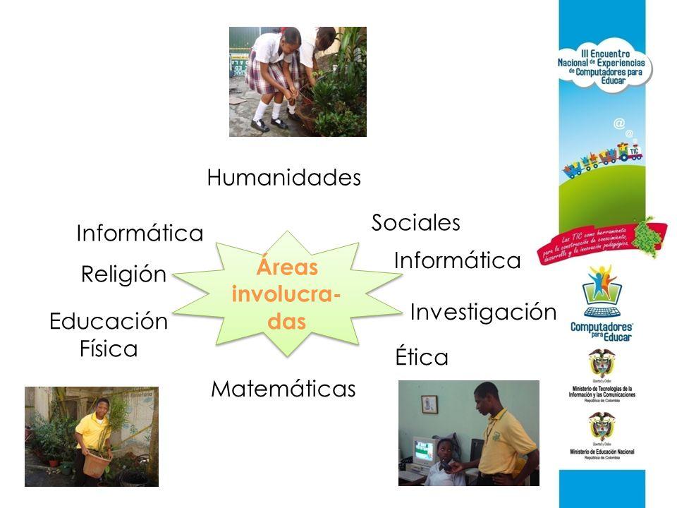 Humanidades Sociales. Informática. Áreas involucra-das. Informática. Religión. Investigación. Educación.