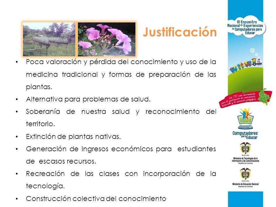 Justificación Poca valoración y pérdida del conocimiento y uso de la medicina tradicional y formas de preparación de las plantas.