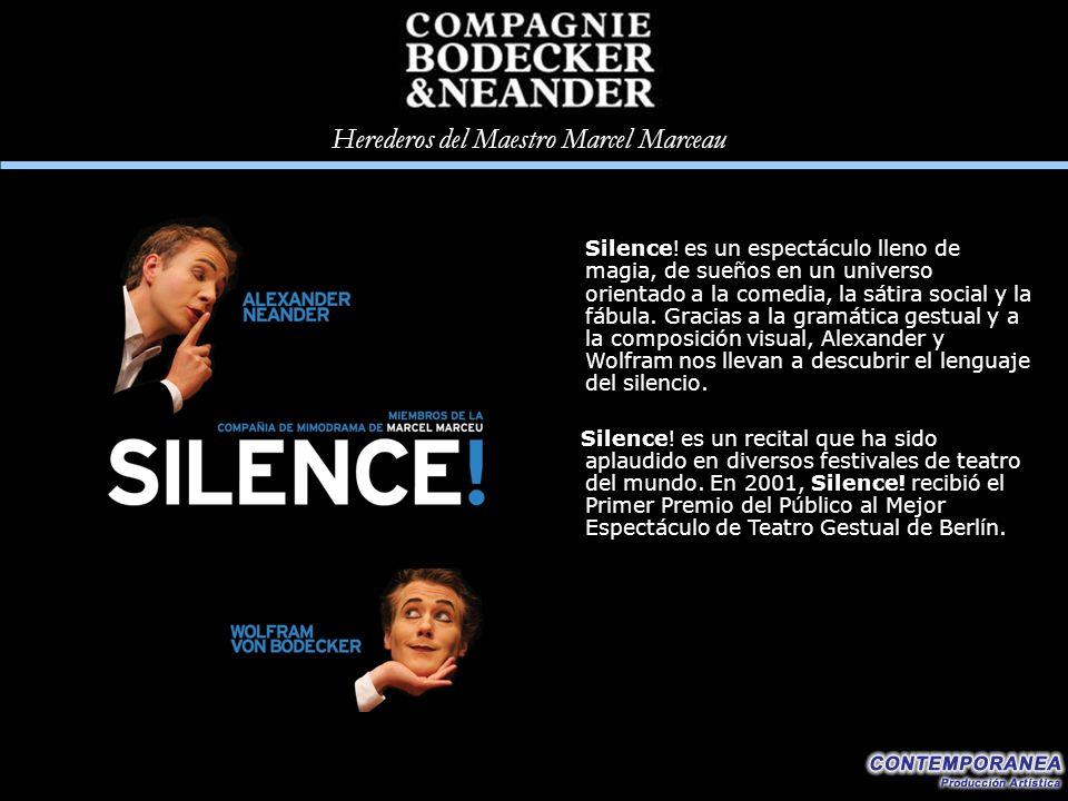 Silence! es un espectáculo lleno de magia, de sueños en un universo orientado a la comedia, la sátira social y la fábula. Gracias a la gramática gestual y a la composición visual, Alexander y Wolfram nos llevan a descubrir el lenguaje del silencio.