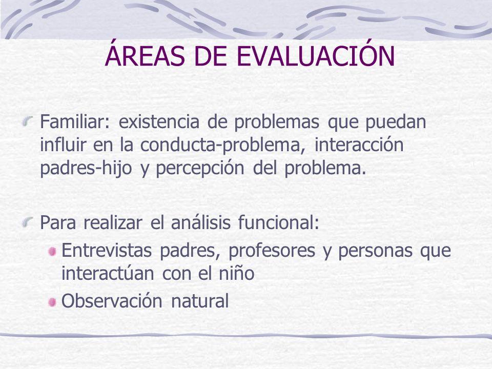 ÁREAS DE EVALUACIÓN Familiar: existencia de problemas que puedan influir en la conducta-problema, interacción padres-hijo y percepción del problema.