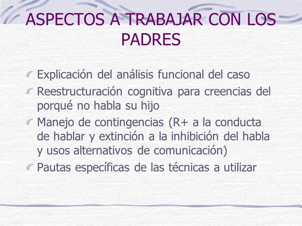 ASPECTOS A TRABAJAR CON LOS PADRES