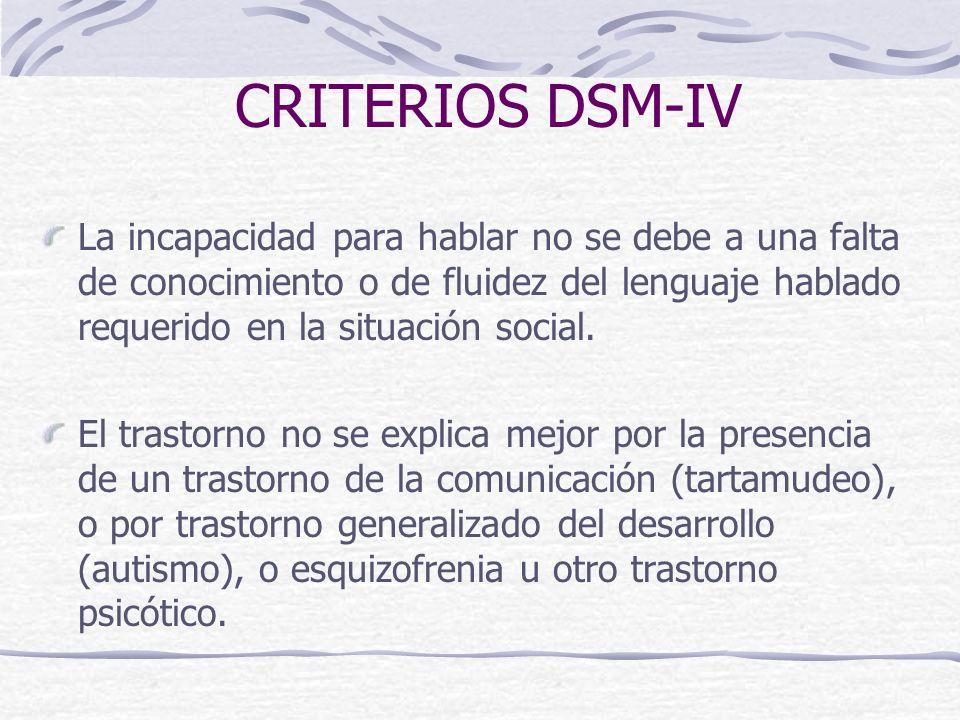 CRITERIOS DSM-IV