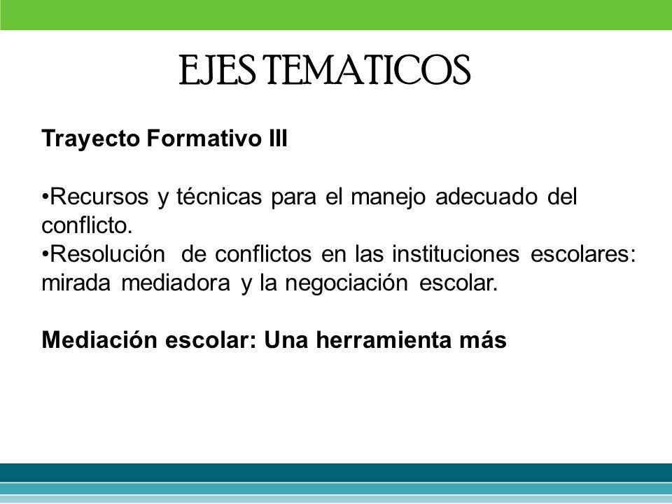 EJES TEMATICOS Trayecto Formativo III