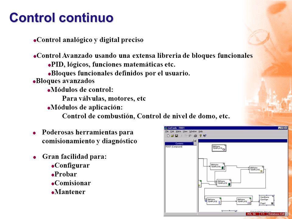 Control continuo Control analógico y digital preciso