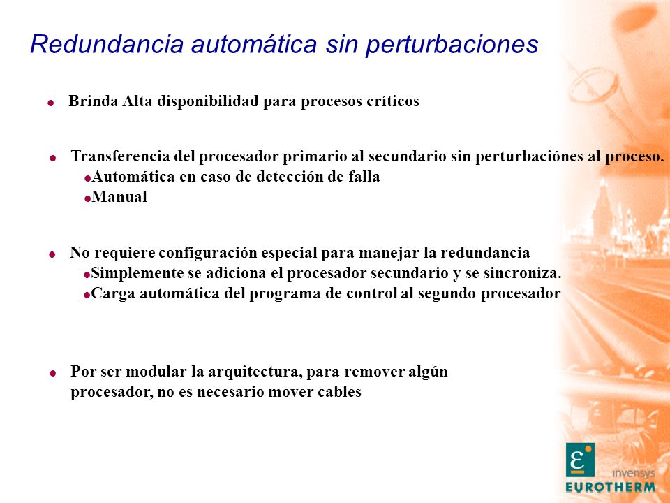 Redundancia automática sin perturbaciones