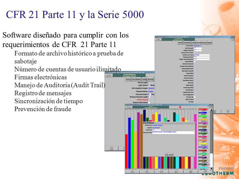 CFR 21 Parte 11 y la Serie 5000 Software diseñado para cumplir con los requerimientos de CFR 21 Parte 11.