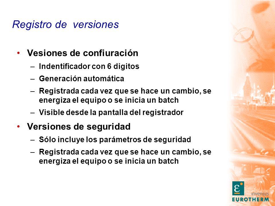 Registro de versiones Vesiones de confiuración Versiones de seguridad