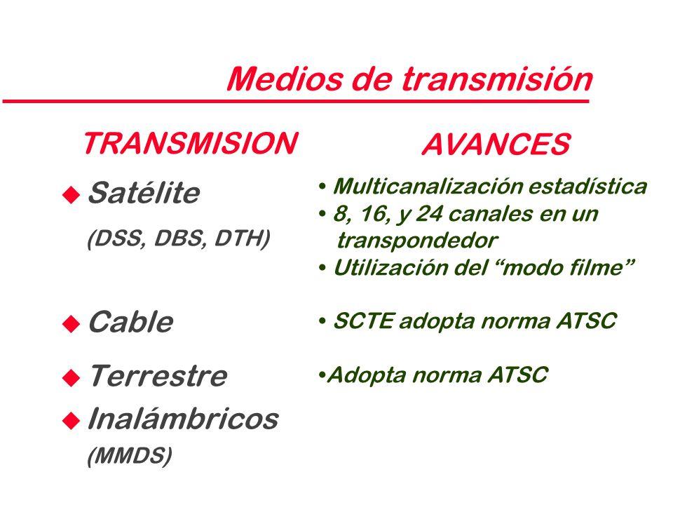 Medios de transmisión TRANSMISION AVANCES Satélite (DSS, DBS, DTH)