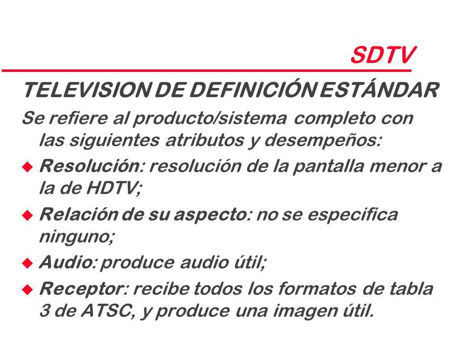 SDTV TELEVISION DE DEFINICIÓN ESTÁNDAR