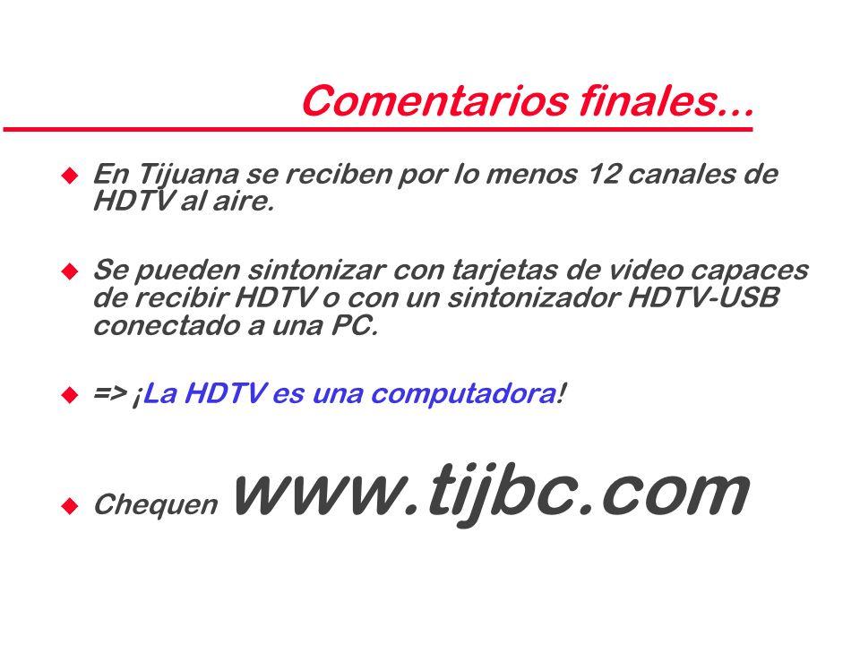 Comentarios finales... En Tijuana se reciben por lo menos 12 canales de HDTV al aire.