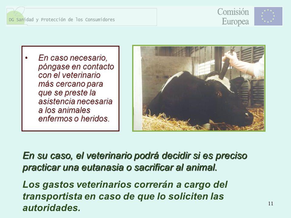En caso necesario, póngase en contacto con el veterinario más cercano para que se preste la asistencia necesaria a los animales enfermos o heridos.